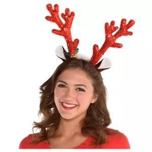 ❗️3/$10 PARTY CITY Sequin in Reindeer Antlers Head